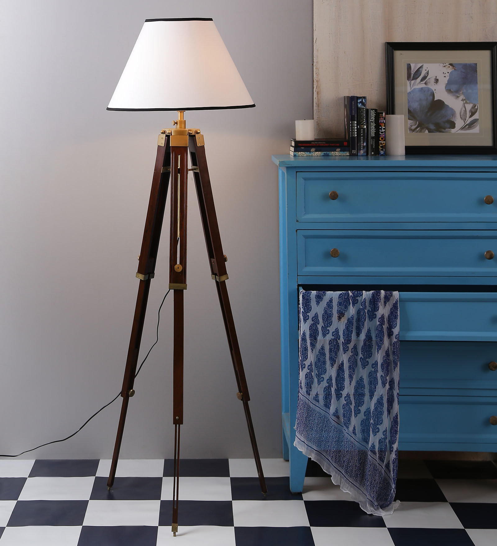 White Wooden Base Tripod Floor Lamp Antikcart