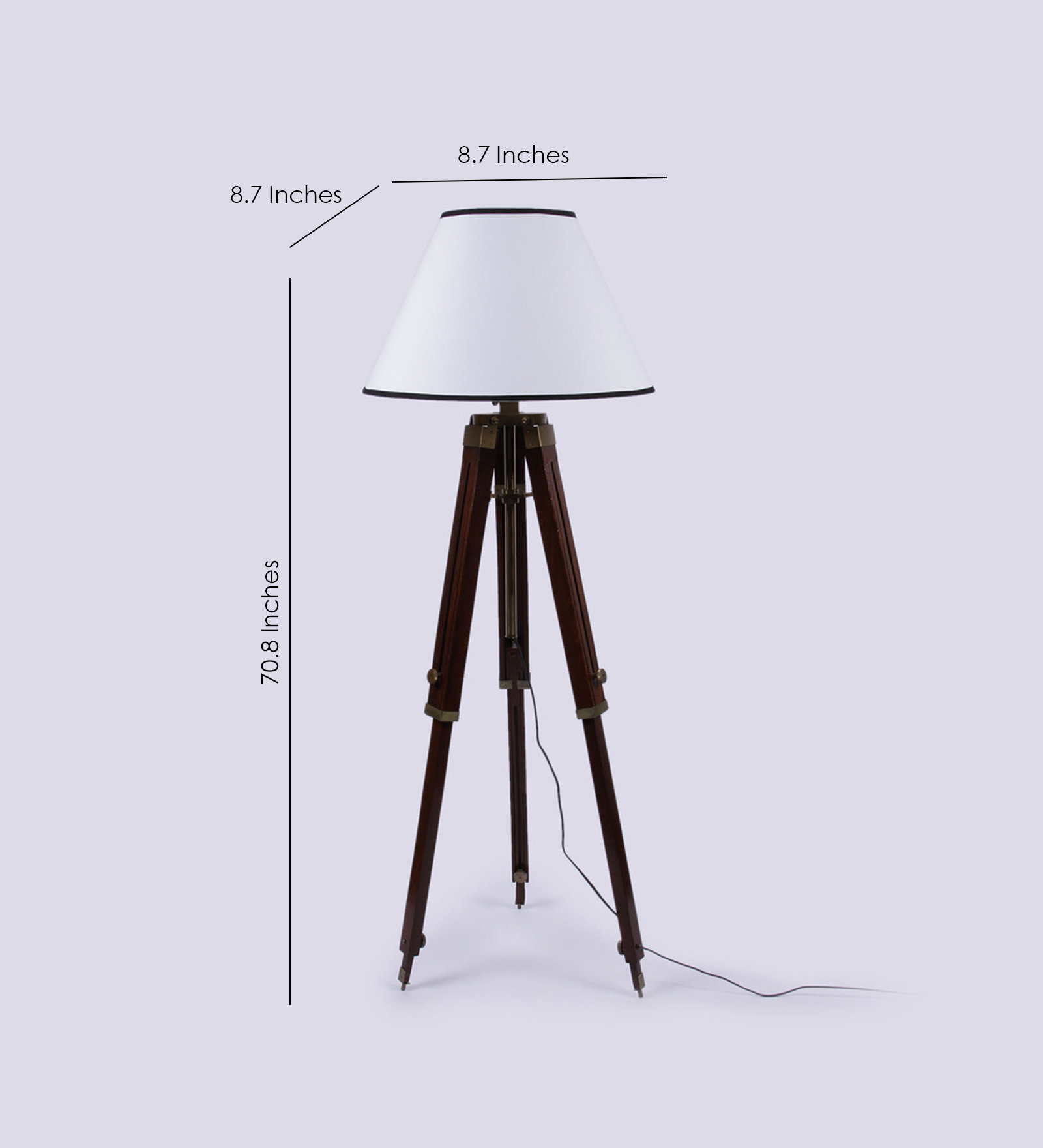 White wooden base tripod floor lamp antikcart for Tripod floor lamp silver base white shade