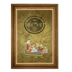 Mughal King with Queen and Sakhis- Framed Ancient Historic Paintings on Stamp Paper- Antikcart