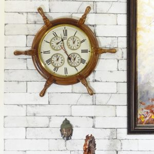 Antikcart Classic Colonial Shipwheel Wall Clock with 5 different time zones main view
