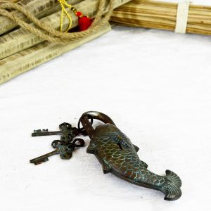 Antikcart Interesting Antique Fish Figurine Brass Lock collectible