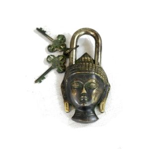 Antikcart Interesting Budha Face Vintage Brass Lock