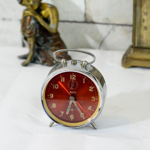 Antikcart Antique Jayco Zieler Red Dial Table Time Piece Decor Collectible