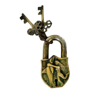 Antikcart Antique Metal Brass Lock with Lady and Fish Carving Antikcart