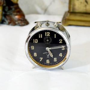 Antikcart Real and Antique Favre Leuba Black Dial Time Piece Clock decor collectible
