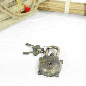 Antikcart Tortoise Figurine Vintage Brass Lock Decor Vintage Lock