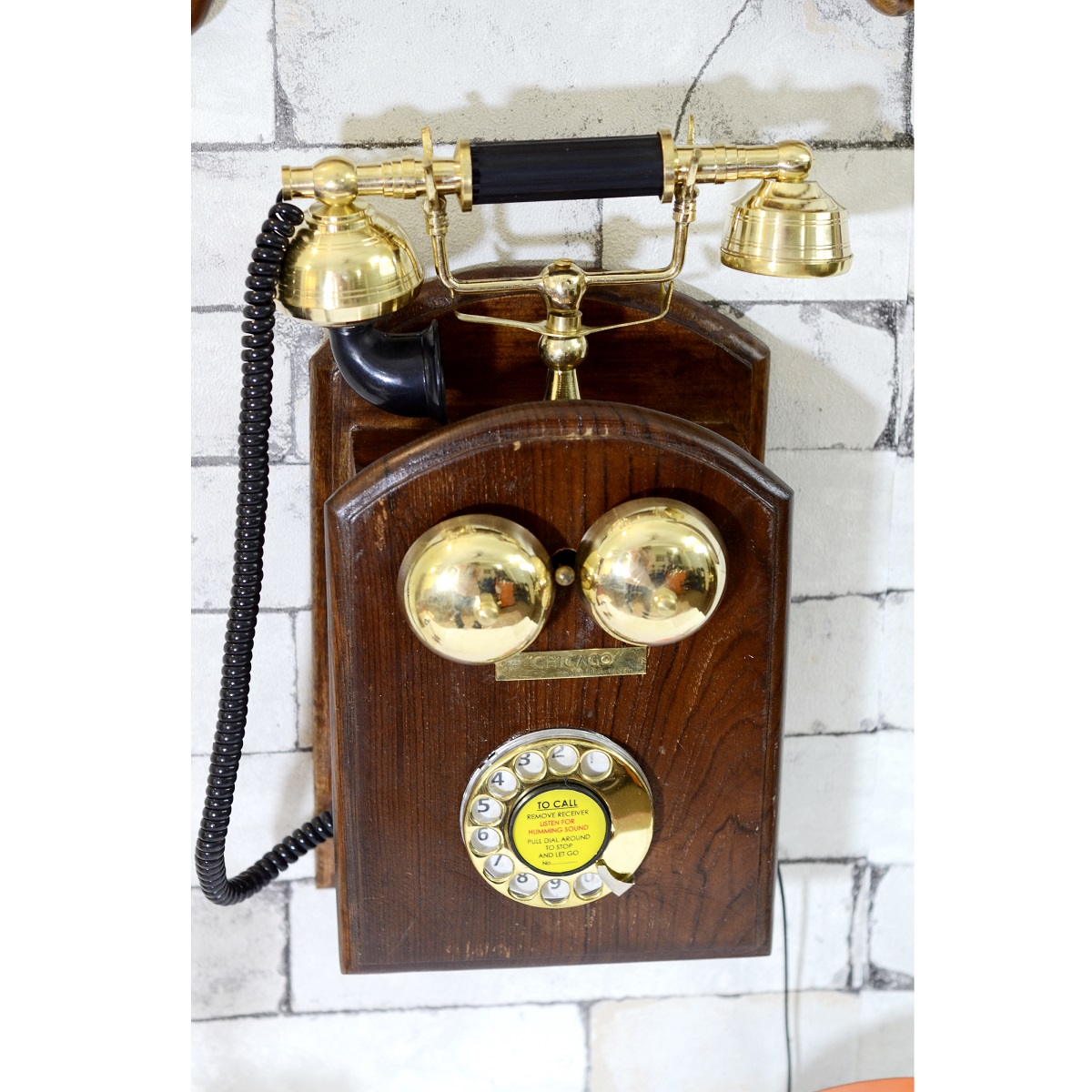 vintage rotary phone wall mount wall decor antikcart. Black Bedroom Furniture Sets. Home Design Ideas