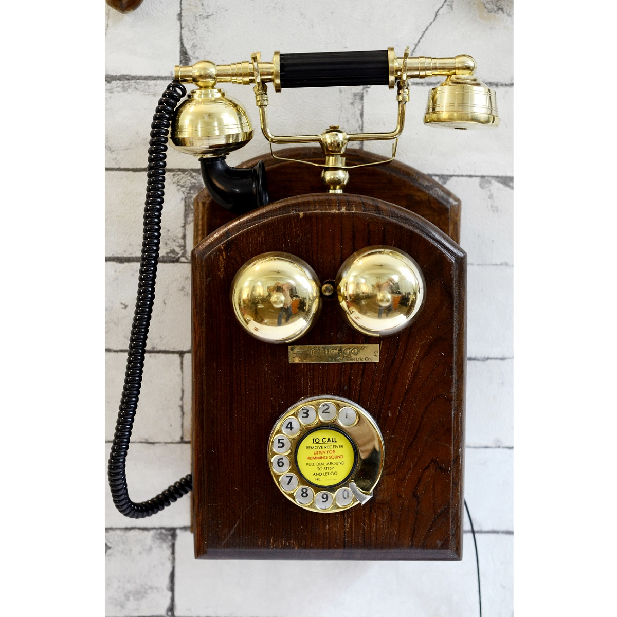 Vintage rotary phone wall mount wall decor antikcart for Vintage home interior products