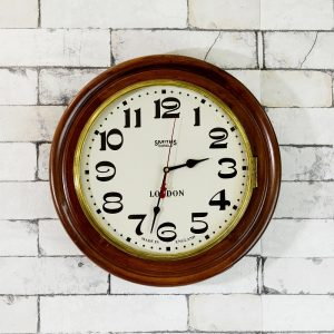Antikcart Vintage Style Teakwood Smiths Enfield Colonial Wall Clock Wall Decor