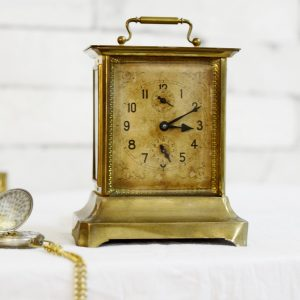 Antique Ansonia Beautiful Brass Table Clock Collectible Decor