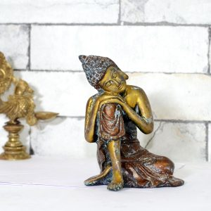 Brass Antique Finish Sitting Budha Statue Room Decor Collectible