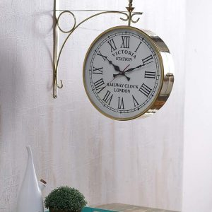 Antikcart 12 Inch Brass Station Wall Clock - Double sided Clock