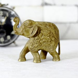 Antikcart 6 Inches Brass Elephant Statue Table Decor