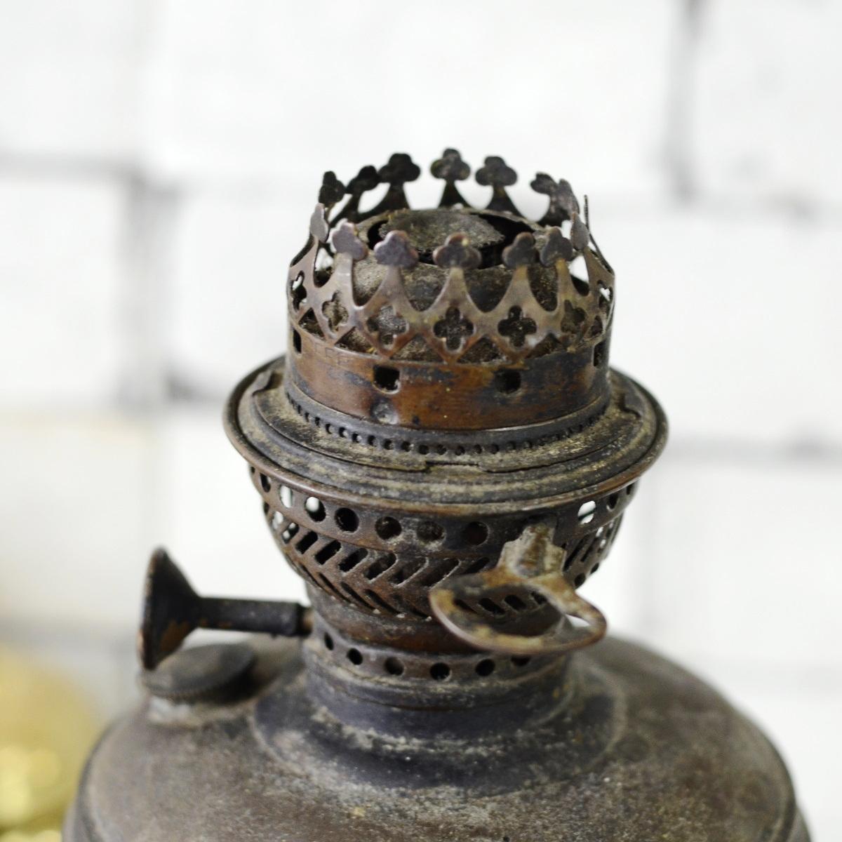 Antikcart Antique 1 Foot Metal Kerosene Lamp Decor Collectible Top View Antikcart