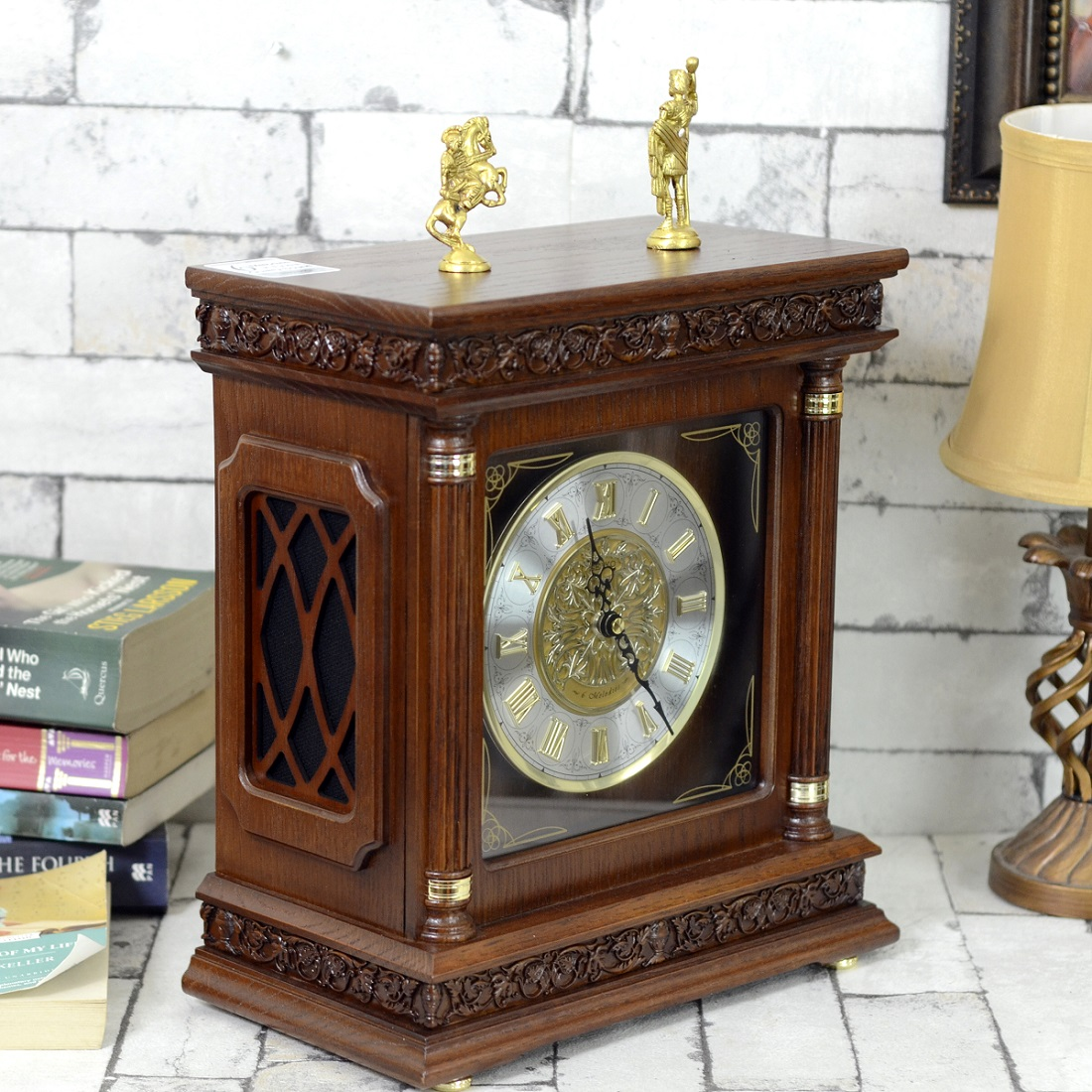 Antikcart Antique Roman Tower Type Seiko Mantel Clock Side View