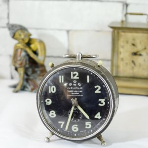 Antikcart Antique Wehrle 3 in 1 Jewelled Western Germany Table timepiece