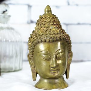 Antikcart Big size Brass Budha Head Sculpture Decor
