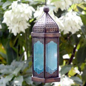 Antikcart Blue Elegant Moroccan Hanging Lantern MAIN VIEW