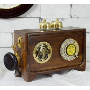 Brass Wooden Vintage Dictograph Phone Antikcart Brass Wooden Vintage Radio Speaker Phone SIDE VIEW
