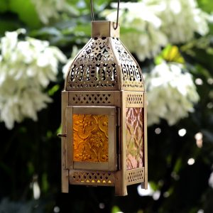 Antikcart Moroccan Style Beautiful Glass Artwork Small Hanging Lamp MOROCCAN LANTERN