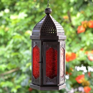 Antikcart Moroccan Style Glass Artwork Hanging Lantern Decor outdoor VIEW