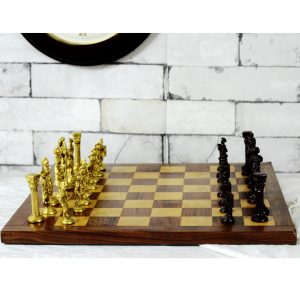 Rosewood Original Chess Set with Brass Pieces