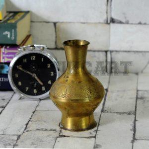 Antikcart Vintage Ethnic Brass FlowerArt Flower Vase main pic