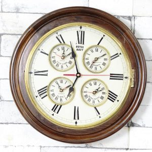 Antikcart Vintage Large Dial Classic Royal Navy World Wall Clock