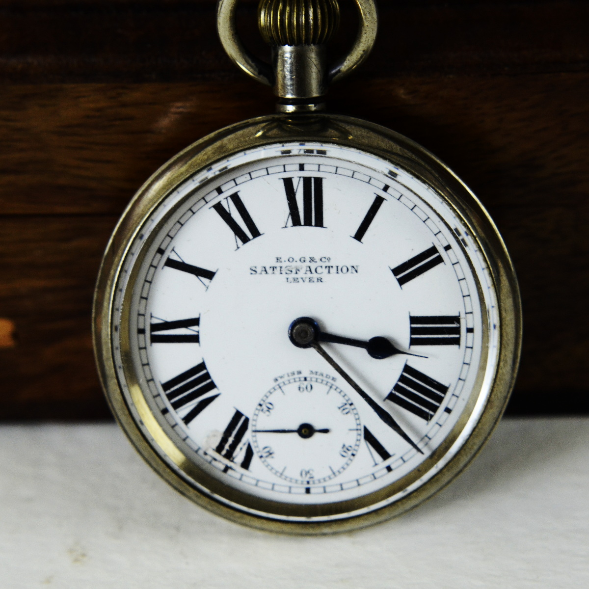 antique swiss made satisfaction pocket watch