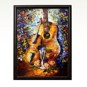 Antikcart Guitar – Rhythm of strings Oil Knife Palette Canvas Painting main