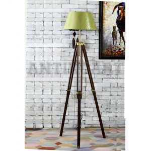 Antikcart Light Green Fabric Tripod Floor Lamp Shade new pic