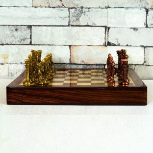 Antikcart Rosewood Chess Board Set and Brass Chess Pieces