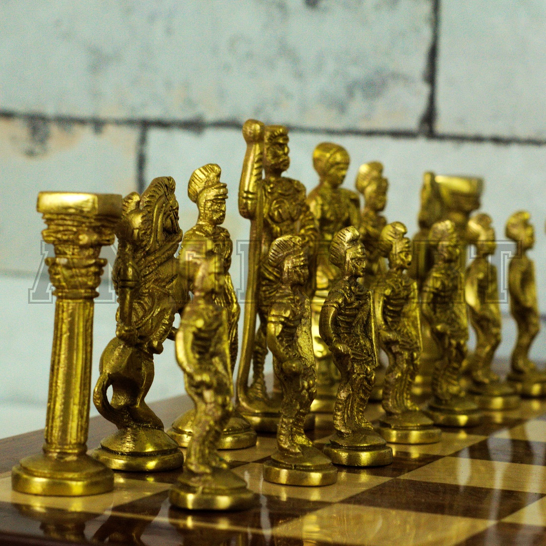 Rosewood Chess Board And Brass Roman Chess Pieces Antikcart