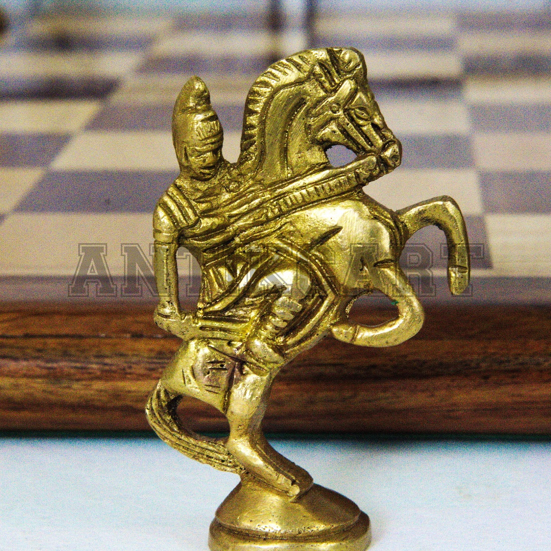 Original Rosewood Chess Board With Real Brass Pieces