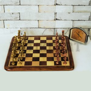 Antikcart Rosewood Chess Board with Real Brass Pieces main pic Antikcart