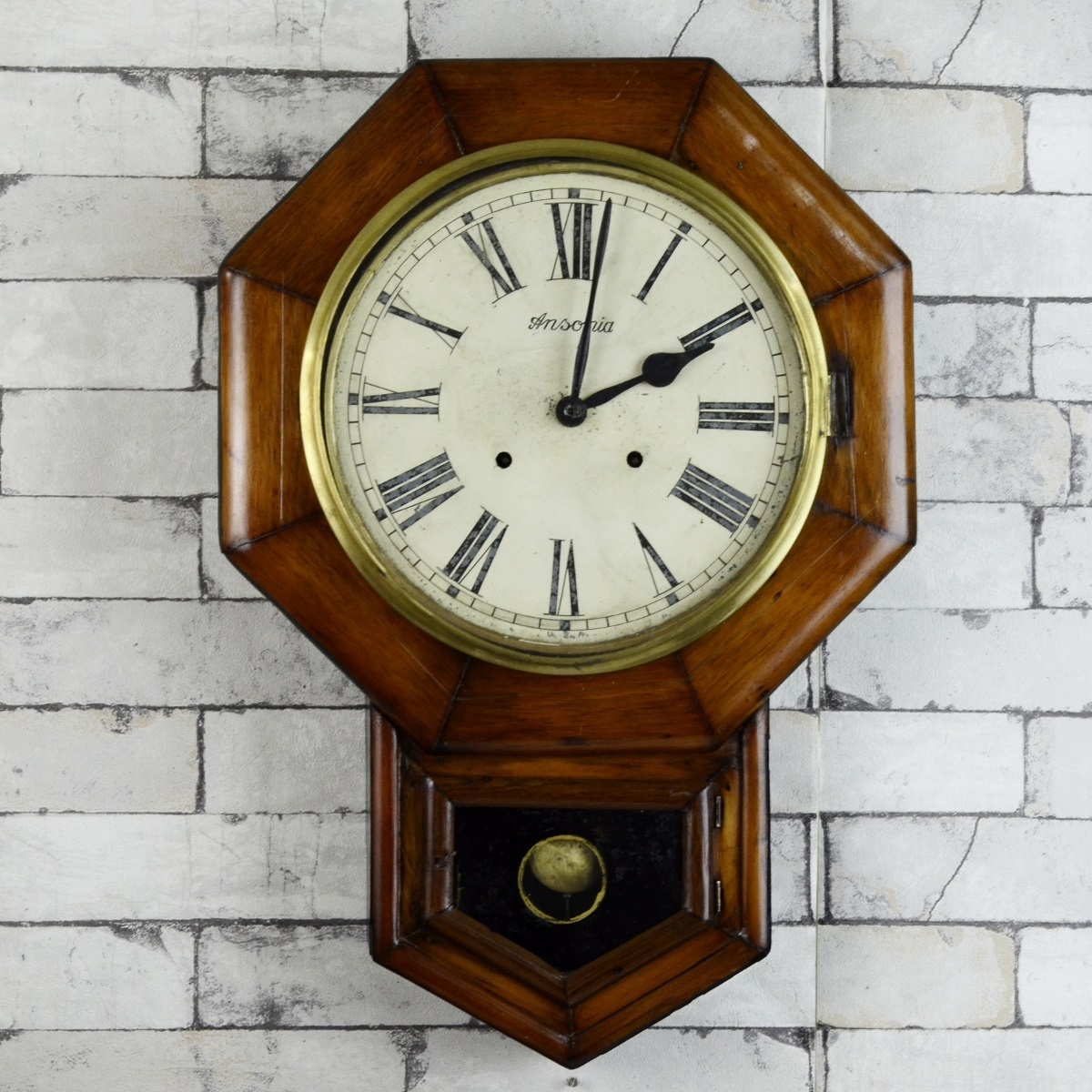 Antique Ansonia Made In Usa Mechanical Winding Wall Clock