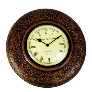 Antikcart Floral Artwork Copper Finish Vintage Wall CLock