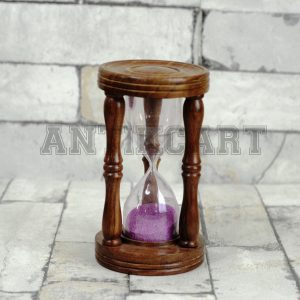 Antikcart 5 Minutes Wooden Sand Hour Glass Desk Decor
