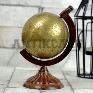 Antikcart 7 Inches Brass Globe Sphere Desk Decor main pic