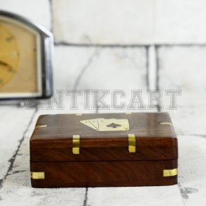 Antikcart Brass Inlay Artwork Wooden Playing Card Storage Box
