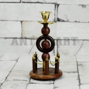 Antikcart Fort Statue Model Wooden Candle Stand