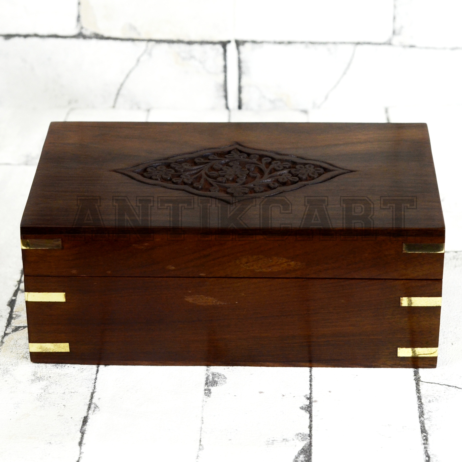 Handcarved Wooden Spice Storage Box Antikcart