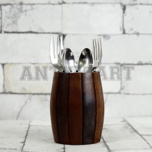 Antikcart Pen Stand - Handcrafted Sheesham Wood Drum Shaped Cutlery Holder