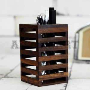 Antikcart Handcrafted Sheesham Wood Pen Stand