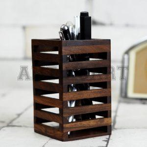 Antikcart Handcrafted Sheesham Wood Pen Stand