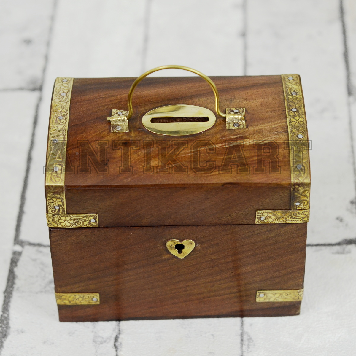 Treasure Chest Model Coin Collection Bank Antikcart