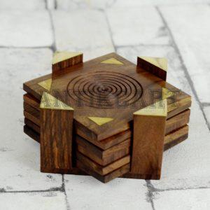 Antikcart Wooden Tea Coaster Set with Brass Artwork