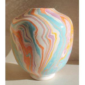 Antikcart 'Ayse' Marbled Ebru Modern Ceramic Vase - 14cm