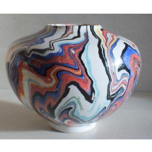 Antikcart 'Bahar' Marbled Ebru Ceramic Modern Vase - 12cm