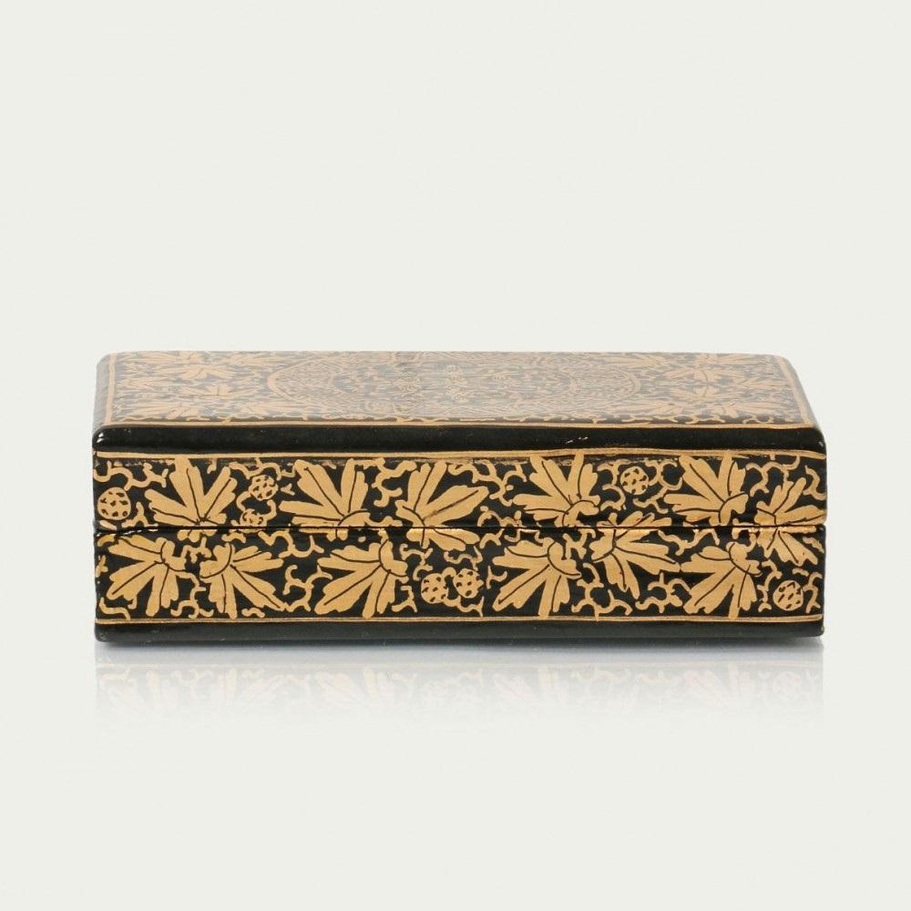 Antikcart Black And Gold Artwork Paper Mache Gift Box Side Views